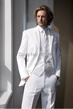 2016 Custom Made Classic White Men Suits 3 Buttons Groom Tuxedos Groomsmen Men Wedding Suits Bridegroom ( Jacket+Pants+Vest+Tie)