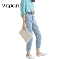 High Waist Jeans 2016 Autumn Waisted Baggy Jeans Woman High Quality Boyfriend Jeans For Women
