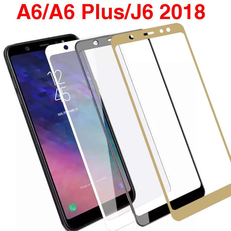 保護三星銀河 A6 プラス J6 2018 強化 Glas スクリーンプロテクター保護フィルム保護フルカバー 9 h プレミアム