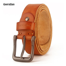 GEERSIDAN Luxury genuine leather belt for men vintage high quality alloy pin buckle male belt for jeans strap black wide strap stylish alligator pattern alloy pin buckle belt for men