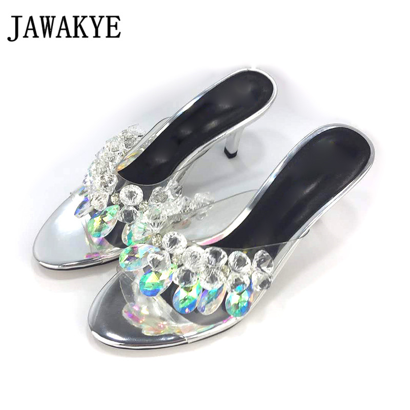 JAWAKYE Clear Crystal Pendant High Heel Slippers Women Pointed Toe Thin Heel Woman Shoes New Fashion