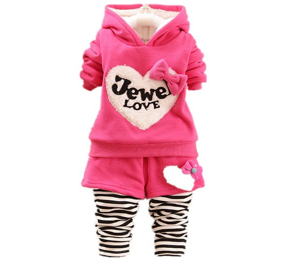 new Warm Winter Baby Girls Infants Kids Thicken Velvet Cartoon Tops hoodies+Striped Skirt-Pants Sets Clothing Sets Suit 1-4years