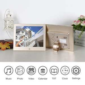 10 Inch Metal LED Digital Photo Frame 720P Video Music Calendar Clock Player 1024x600 Resolution support for SD TF card S r20