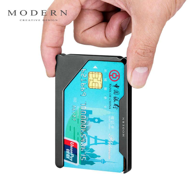 Marca Slim aluminio tarjeta titular tarjeta de crédito cartera carpeta de la tarjeta caso minimalista hombres billeteras Mini viajes organizador de cartera de viaje-Morden