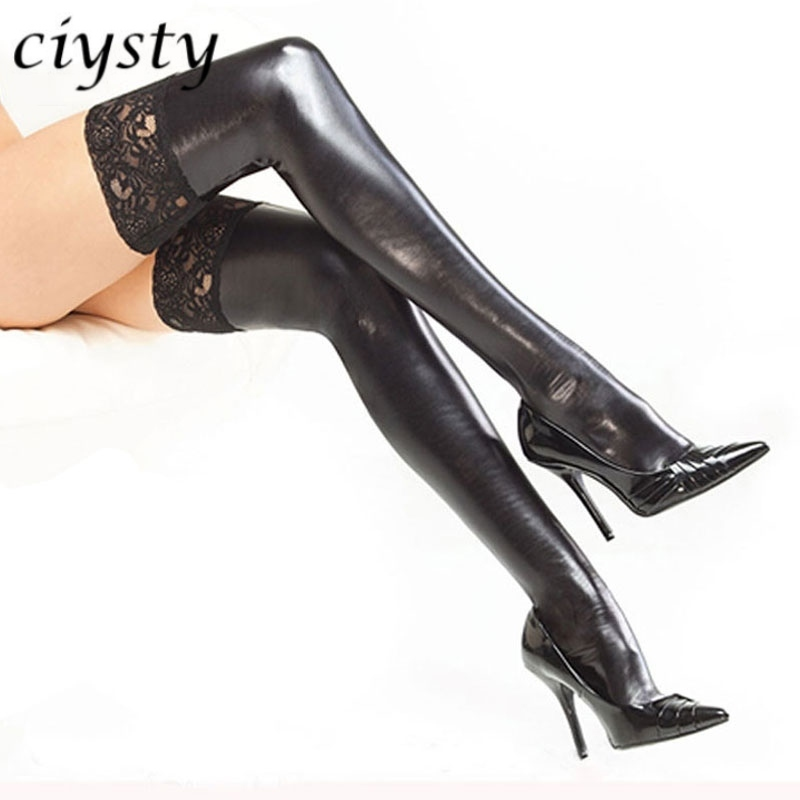 Buy Women Sexy Latex Stockings Lady's Black PVC Pole Dance Leather Erotic Clubwear Length Lace Knee High Stockings Vintage Stocking