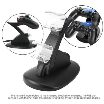 Dua USB Charging Socket Kit Charger Dock Stand Cradle For PS4 Console Controller Play Station Game Pad  with USB Cable