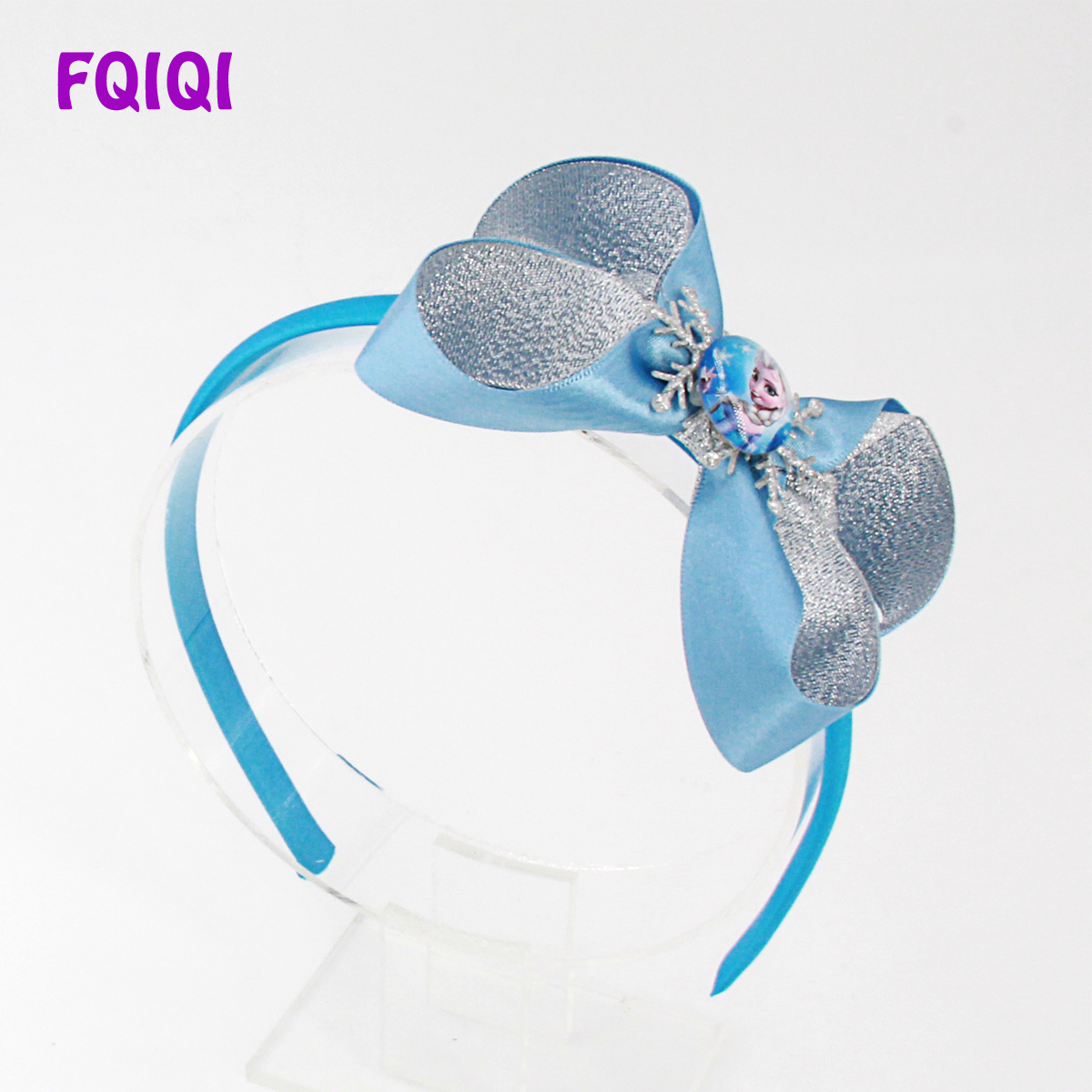 babygirls hair bow baby headband handmade hair accessories blue headband blue bow