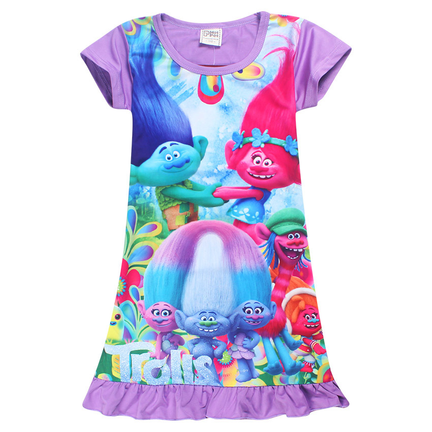2017 New Silk Trolls Kids Dress For Baby Girls Summer 3D Printing Short Sleeve O Neck Moana Children Girls Dress for toddlers chic round neck short sleeve figure print fringed dress for women