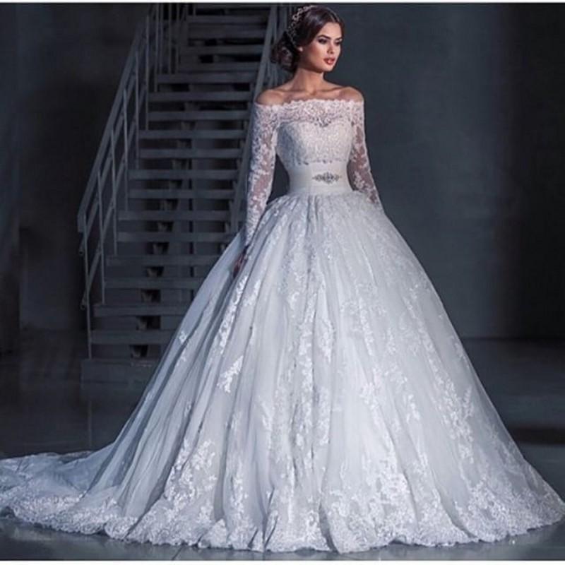 Online get cheap elegant bridal wear for Boat neck long sleeve wedding dress