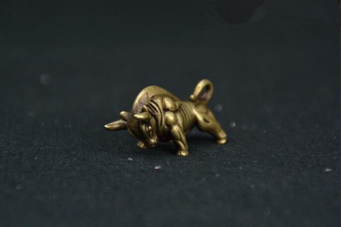 Chinese Pure brass Wall Street bull small statue