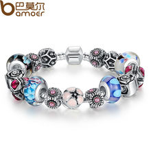 Bamoer 925 Silver Original Flower Charm Bracelet for Women With Exquisite Glass Bead Safety Clasp Mother's Day Gifts PA1841