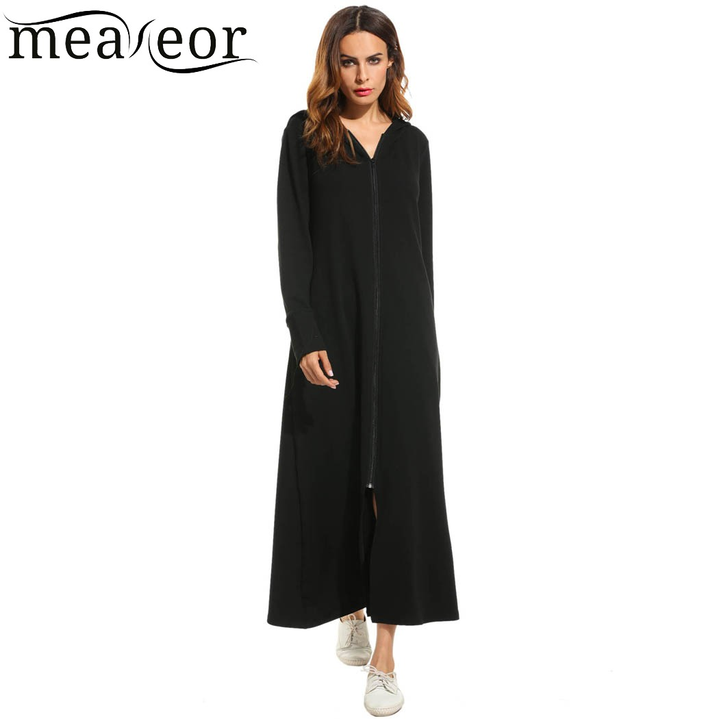 Meaneor Women Dress Autumn Hooded Zip Up Loose Solid Long Maxi Hoodie Ladyies Vestidos Dress With Pockets