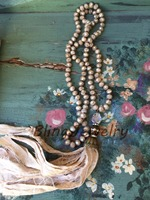 Neutral Sari Silk Tassel Necklace Shabby Boho Knot Champagne Crystal Rondelles Beads Necklace N17081605