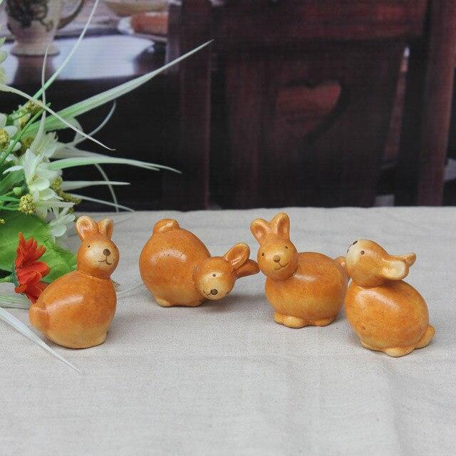 Set of 4 Terracotta Rabbit deco