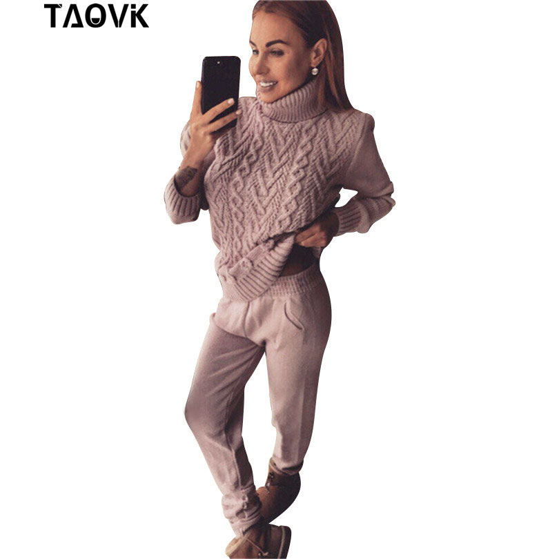 TAOVK Woman Suits Wool Warm Knitted Sets Turtleneck Twist Sweater pant two piece Set Female Winter