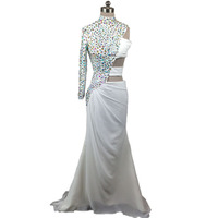 Sexy crystal beaded prom dresses turkey girls one shoulder party gown sexy high neckline luxury beaded long sleeve dress real