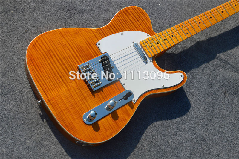 Electric guitar Free shipping wholsale guitar/TL guitarra/yellow color /with maple flame top oem electric guitar/guitar in china free shipping top quality lower price the left hand tl natural yellow color guitars tl electric guitar