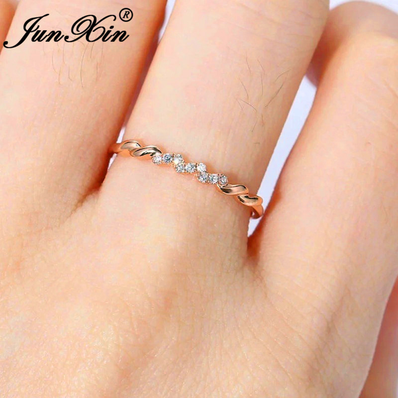 Junxin Minimalist Female Daily Stacking Thin Rings For Women Rose Gold Filled Boho Girls White Crystal Wedding Wave Ring Jewelry Attractive Fashion