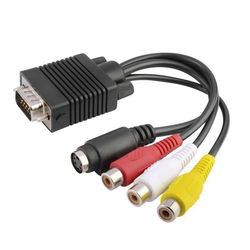 Mvpower Vga Male Video 3 Rca Female Cable Av Tv Adapter