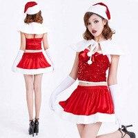 2018 de Haute Qualité rouge robe costume à paillettes sexy Santa Claus adulte femmes de velours d'or cosplay costume