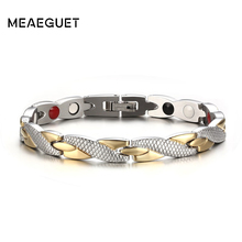 Meaeguet Twisted Magnet Health Bracelets & Bangles 316L Stainless Steel Casual Jewelry H Power Bracelet For Women