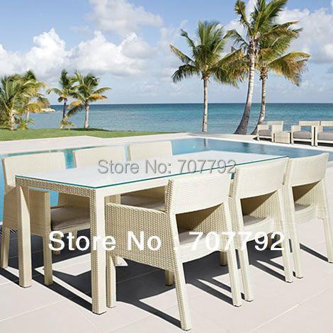 White 6 Seater Rattan Dining Set
