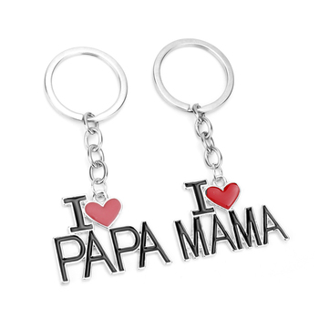 dongsheng I love Papa Mama Heart Trinket Keychain Family Rucksack Buckle Car Key Ring for Fathers Mothers Day Key Chains -50 image