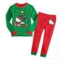 Crianças Conjunto De Roupas de Natal 2016 de Moda de Nova Crianças Dos Desenhos Animados Outono Camisa de Manga Comprida + Calças 2 pcs Crianças Inverno Quente ternos KT gato