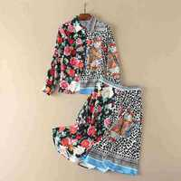 European And American Women S Wear 2017 The New Winter Floral Print Spliced Long Sleeve Shirt
