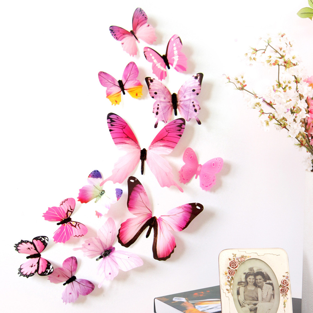12Pcs/Lot 3D DIY Wall Sticker Stickers Butterfly Home Decor For Fridge Kitchen Living Room Decoration Adesivo de parede