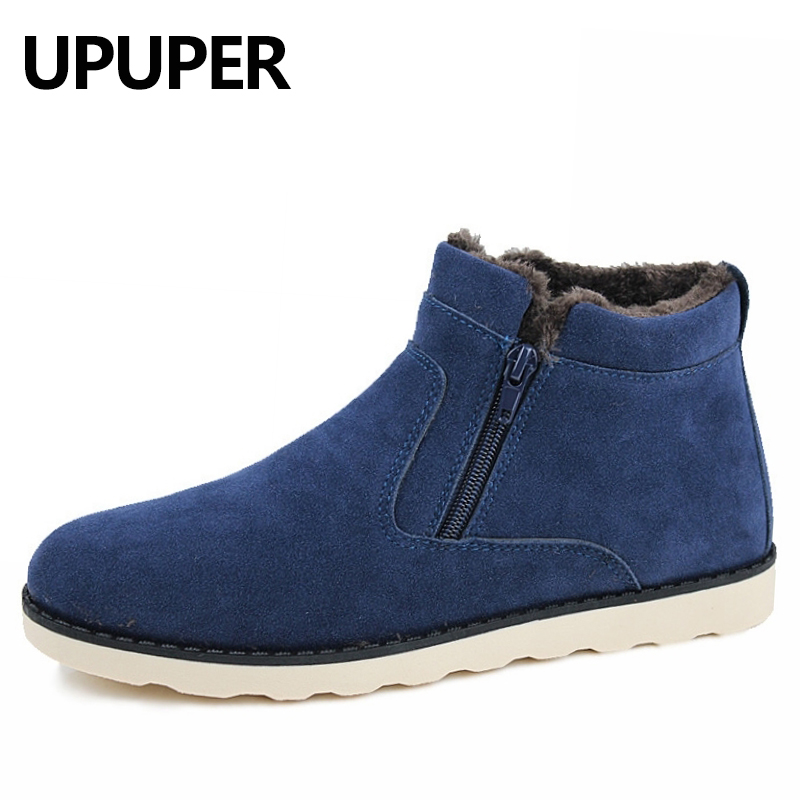 UPUPER Big Size:37-47 Men Shoes 2017 Top Fashion New Winter Casual Ankle Boots Warm Winter Fur Shoes Leather Footwear Blue Black new fashion men basic black winter warm shoes high top nuduck genuine leather luxury brand ankle snow boots flats size 38 44