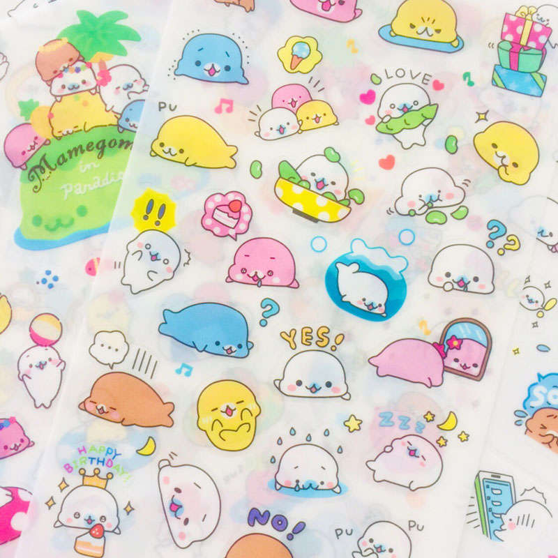 6 Sheets Kawaii Sea Lion Otters DIY Adhesive PVC Stickers Decorative Diary Album Stick Label Paper Decor Stationery
