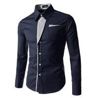 2017 Dress Shirts Mens Striped Shirt Cotton Slim Fit Long Sleeve Shirt Men New Model Shirts