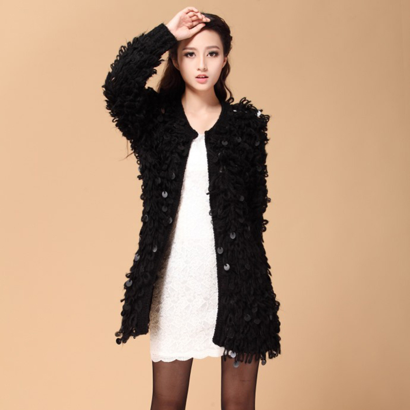Online Shop Womens Casual Wool Hairy Sequined Sweater Fluffy ...