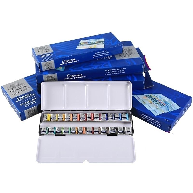 WINSOR&NEWTON Cotman 8/12/24/36/45 Colors Half pans solid watercolor paints set pigment art supplies