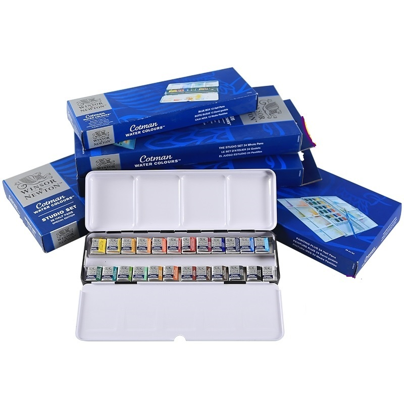WINSOR&NEWTON Cotman 8/12/24/36/45 Colors Half Pans Solid Watercolor Paints Set  Pigment Art Supplies