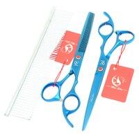 2 Sztuk/zestaw Meisha 7.0 Inch Dog Grooming Scissors Big Blue Prosto & Curved HB0120 Tesouras Przycinanie Nożyce Do Cięcia Przecinka Grzebień