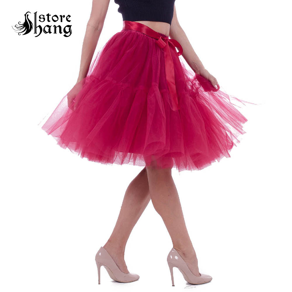Women's 1950s Vintage 5 Layered Tutu Tulle Skirt Knee Length Petticoat Ballet Dance Skirt Boutique Tutu Bridesmaid Pettiskirt