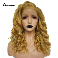 Anogol Gold Blonde High Temperature Fiber 360 Frontal Long Deep Wave Full Hair Wigs Synthetic Lace Front Wig For Women Free Part