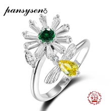 PANSYSEN Real 100% 925 Silver Jewelry Adjustable Open Rings Womens Citrine Party Anniversary Fine Ring Birthday Gifts