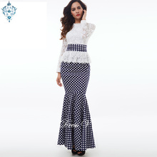 Ameision Polka Dot mermaid evening dress white long sleeves scoop neck lace trumpet formal party prom dresses