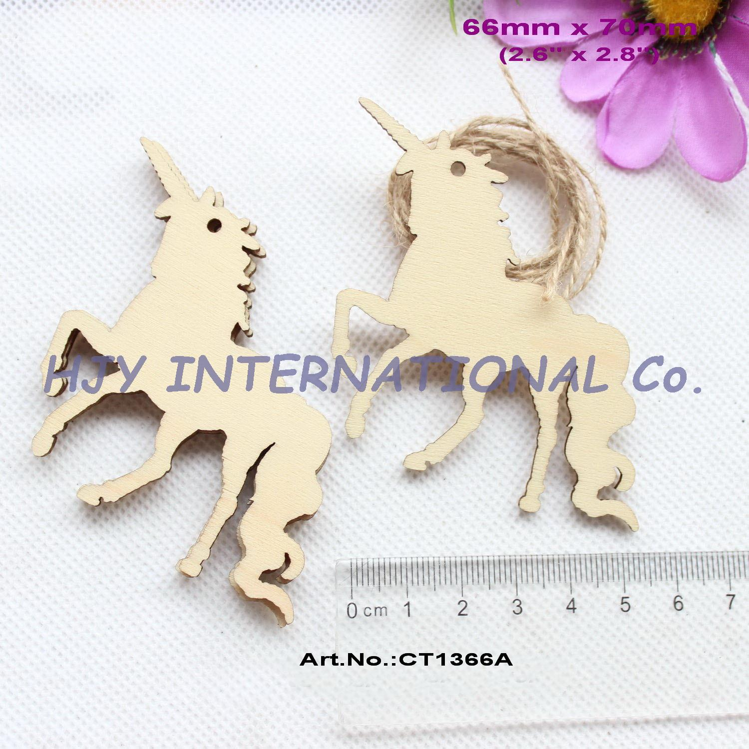 (50pcs/lot) 70mm Natural Blank Wooden Unicorn Oraments Rustic Wood Tags Craft Supplies 2.8-CT1366A