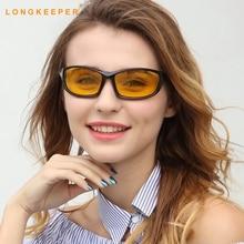 LongKeeper Men Sunglasses High quality Plastic Frame Night Vision Glasses Driver Driving Light Goggles Sun UV400
