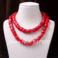 Hot Red Coral stone Chunky Cylindrical long Necklace 35inch / 90cm Woman Fashion Party Gift