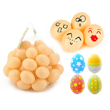 50pcs Easter Decoration For Home Kids Children DIY Painting Egg With Rope Gifts Plastic Hanging Easter Egg 4*5cm