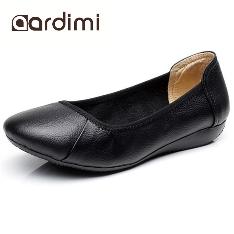 HOT SALE women shoes genuine leather autumn black slip on round toe women flats shoes fashion casual wedges shoes woman beautoday genuine leather crystal loafer shoes women round toe slip on casual shoes sheepskin leather flats 27038