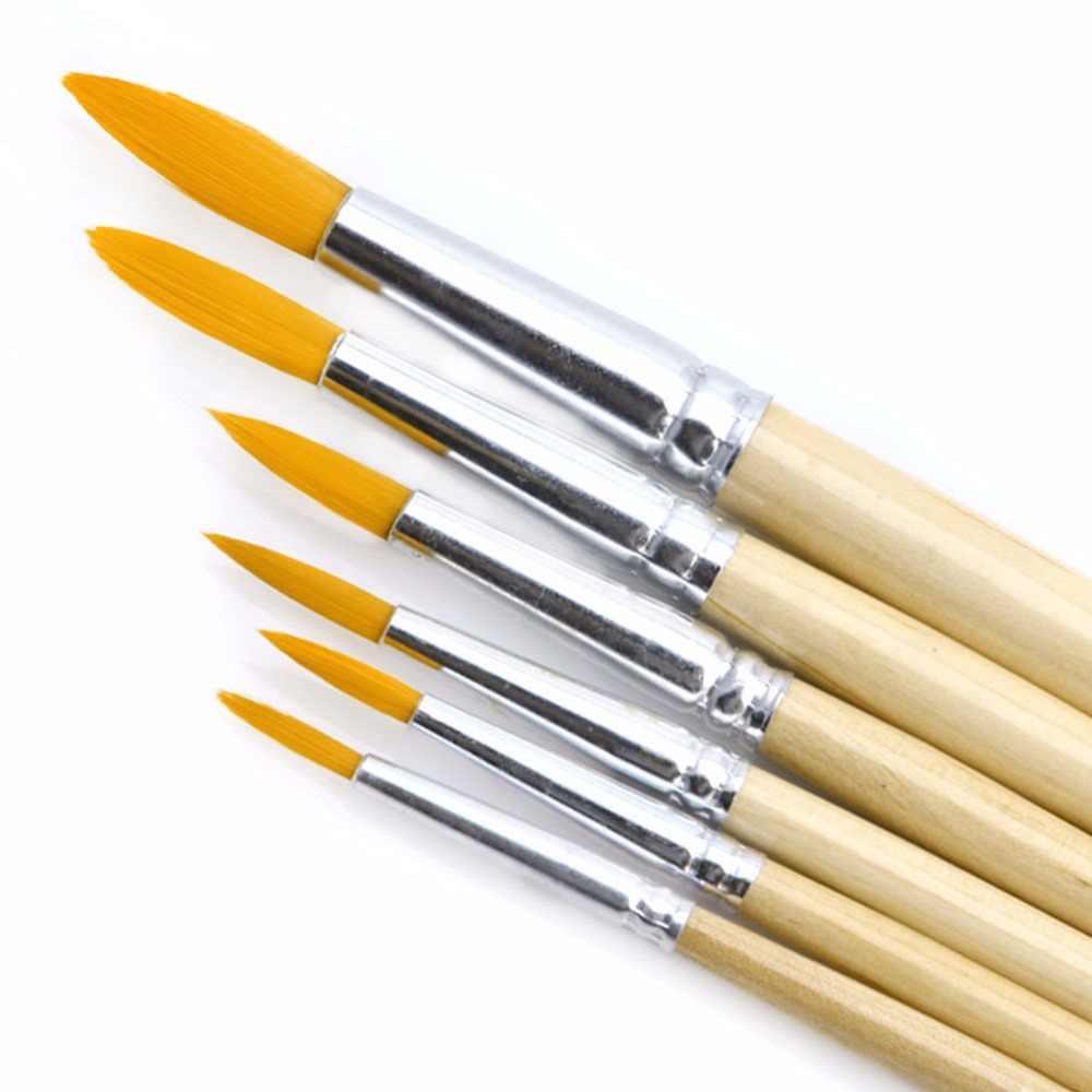 6 قطعة الفنان نقطة مستديرة طرف النايلون الشعر الغواش فرشاة مجموعة اللوحة المائية