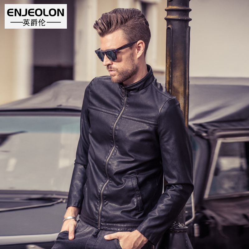 Enjeolon brand PU Motorcycle Leather Jacket men quality fashion jacket for men biker jacket coats male cool clothes P209