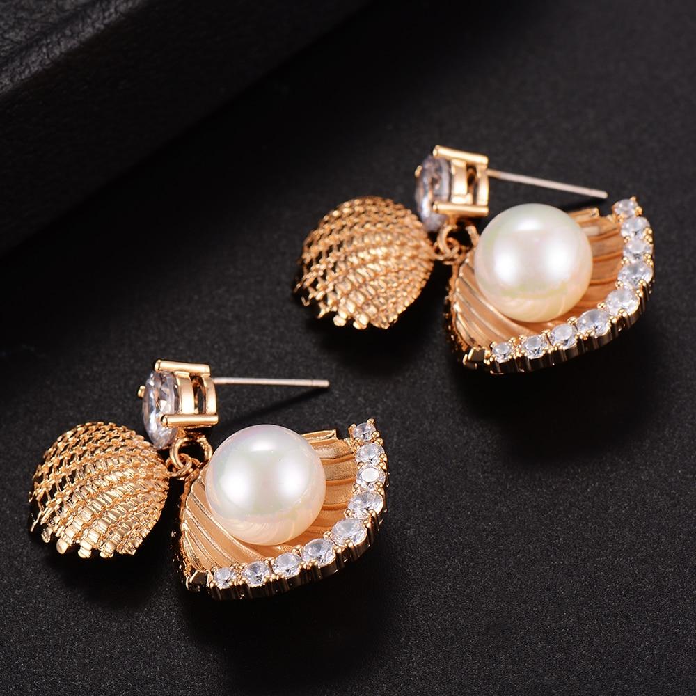 GODKI 30mm Mussel Imitation Pearl Fashion Cubic Zirconia Women Engagement Party NightOut Bridal Wedding Earrings for Women