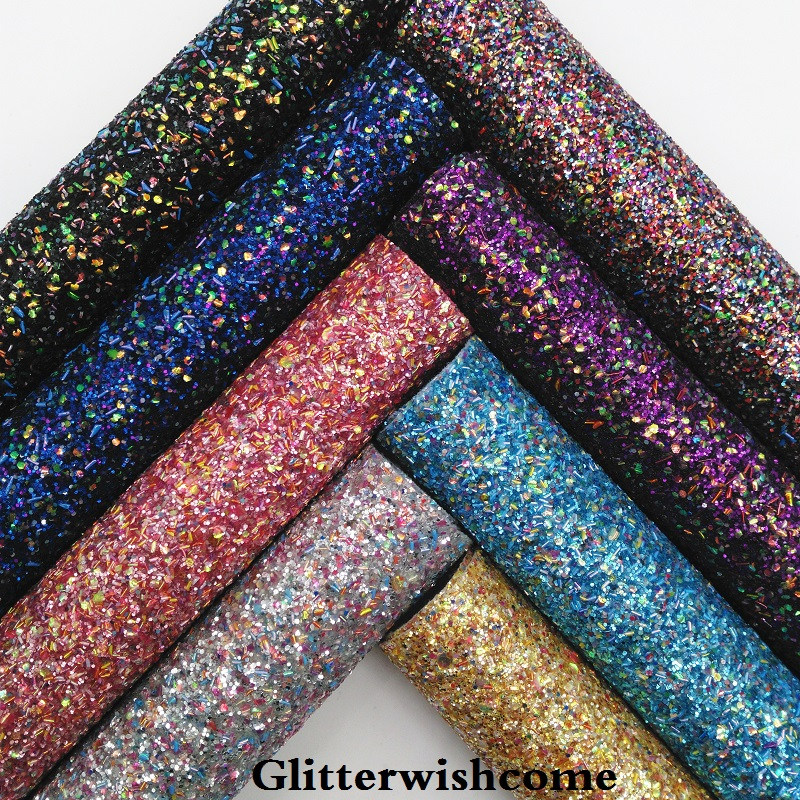 Glitterwishcome 21X29CM A4 Size Synthetic Leather, Chunky Glitter Leather, Faux PU Leather Fabric Vinyl For Bows, GM049A